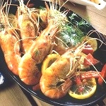 fruits de mer - gambas flambees